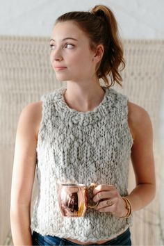 The Camellia Tank Pattern - Updated The Camellia Tank by Karen Templer ~ Knit Tank, knit top pattern, knitting patterns for women, knit sweater pattern, bul. Free Knitting Patterns For Women, Chunky Knitting Patterns, Easy Knitting, Knitting Sweaters, Templer, Chunky Yarn, Chunky Knits, Karen, Panzer