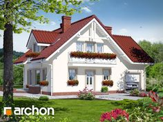 Dom w rododendronach 2 Bungalow House Design, Modern House Design, House Architecture Styles, Modern House Facades, Attic Design, Park Homes, Facade House, Design Case, Home Fashion