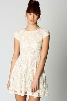 Robyn Capped Sleeve Large Floral Lace Skater Dress
