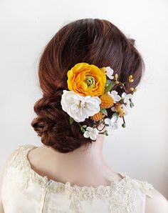 yellow floral hair clip yellow wedding hair by thehoneycomb