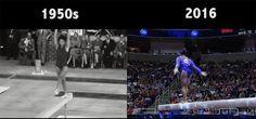 人類の身体能力も日々進化していた。オリンピック体操競技の60年前と今を比較した映像