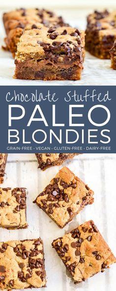 Vegan Chocolate Stuffed Paleo Blondies are an easy, healthy dessert that's ready in 30 minutes! Gluten-free, dairy-free & refined sugar free! #paleoblondies #paleo #blondies #healthy #recipe #glutenfree #grainfree #vegan #dairyfree
