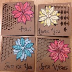Paperartsy Lin Brown stamps paper pieced with Sizzix / Tim Holtz mixed media background dies and Woodware greeting stamps Cool Cards, Diy Cards, Mixed Media Cards, Card Tags, Paper Cards, Tim Holtz, Flower Cards, Greeting Cards Handmade, Homemade Cards