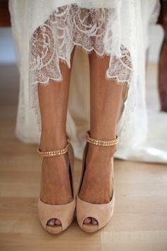 peach velvet and gold wedding shoes - Bridal Musings Wedding Blog