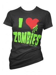 "Women's ""I Love Zombies"" Tee by Pinky Star (Black) #inkedshop #zombies #ilovezombies #monsters #blood #halloween"
