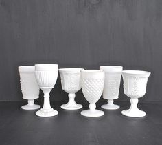 Milk glass goblets for hire for weddings and events