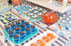 41 Ideas Baby Shower Themes For Boys Sea Dessert Tables 1st Birthday Boy Themes, Birthday Menu, Birthday Candy, Birthday Ideas, 2nd Birthday, Birthday Parties, Octonauts Party, Under The Sea Party, Baby Shower Themes