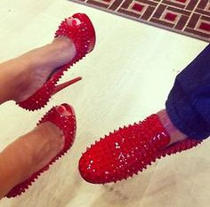 His and hers matching Christian Louboutin red bottoms studded spiked patent leather heel and loafer