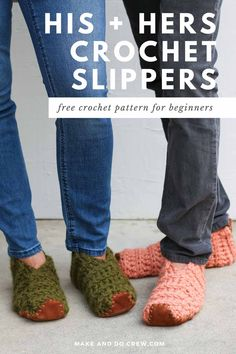 Learn how to crochet slippers from simple rectangles in this easy video tutorial from Make & Do Crew. This beginner crochet project could not be simpler, but the end result is stunning and perfect for gift giving. Use Lion Brand Wool-Ease Thick & Quick or substitute ANY weight yarn for these super fast crochet slippers. Follow along with the free pattern to crochet slippers for men and women! Fast Crochet, Learn To Crochet, Crochet Slipper Pattern, Crochet Blanket Patterns, Beginner Crochet Projects, Crochet For Beginners, Easy Beginner Crochet Patterns, Easy Crochet Slippers, Make And Do Crew