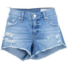 Rag & Bone /Jean distressed denim shorts ($185) ❤ liked on Polyvore featuring shorts, blue, distressed denim shorts and blue shorts