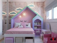 Bunk bed for babies When creating a baby room, the most important items are the head … - Kinderzimmer Little Girl Bedrooms, Bed For Girls Room, Cool Kids Bedrooms, Kids Bedroom Designs, Room Design Bedroom, Kids Room Design, Big Girl Rooms, Baby Bedroom, Baby Room Decor