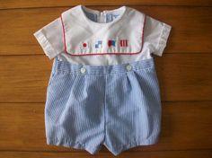 Size 3/6 Month Vintage  Nursery Rhyme Blue Stripe by LittleMarin,