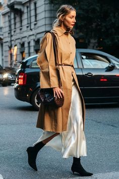 An Effortless Way To Wear A Silk Slip Dress For Winter