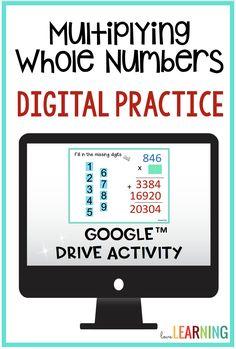 Distance Learning: Multiplying Whole Numbers Digital Practice I Love Math, Fun Math, Math Activities, Math Classroom, Google Classroom, Classroom Design, Classroom Organization, Teaching Numbers, Teaching Math