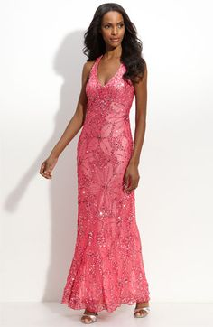 Adrianna Papell Flower Sequin Halter Gown available at #Nordstrom