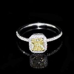 Fancy Yellow Canary Diamond Engagement Ring Mounting by OroSpot, Yellow Diamond Engagement Ring, Elegant Engagement Rings, Yellow Diamond Rings, Engagement Ring Settings, Yellow Diamonds, Halo Engagement, Halo Diamond, Wedding Rings, Colored Diamonds