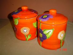 Ceramic canisters painted by Lisa B's Art Studio