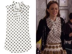 Gossip Girl S06 Episode 07 - Save The Last Chance - Blair wore this beautiful Moschino Polka Dot Silk Crepe Bow Blouse.