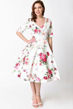 """Rose Garden"" Garden Party Swing Dress"