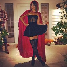 How Hollywood Does Halloween | LEA MICHELE | Alert the Big Bad Wolf: Little Red Riding Hood is all grown up. The Glee star, who attended pal Kate Hudson's party, puts her own sexy spin on the fairytale character, complete with lacy knee socks and sky-high heels.