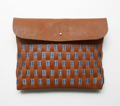 WOVEN CLUTCH // large size // brown leather by BlackbirdAndTheOwl, €69.00