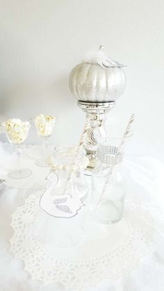The silver pumpkin at this Swan Party Halloween Party is fantastic!! The bottles are beautifully decorated too! See more party ideas and share yours at CatchMyParty.com