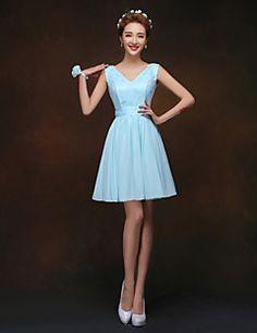 29.99  A-line Princess V-neck Knee-length Bridesmaid Dress 7a1fa1eb458c