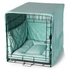 Tiffany blue dog crate bed set   FelixChien.com