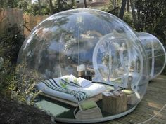 """""""Innovative Transparent Bubble Tents""""    Wow, I would love to try one of these Bubble Tents (created by French designer Pierre-Stéphane Dumas) whenever I go camping! Imagine sleeping in complete darkness, avoiding all the pesky critters from outside, but still being able to stare at the night sky without any worries?"""