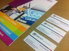 Últimos trabajos: diseño e impresión de tarjetas y carpetas institucionales para Fabren- Insumos para Oficina