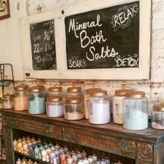 Bath salt, soap display at our soap boutique in historic Hot Springs, Arkansas