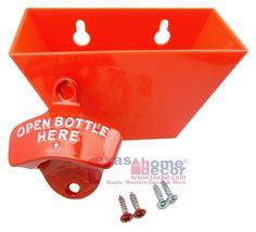 Red OPEN BOTTLE HERE Combo Starr X Wall Mount Bottle Opener //Plastic Cap Catcher