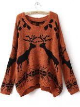 I love it!!! Orange Batwing Long Sleeve Deer Print Sweater $31.68