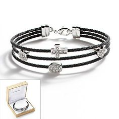 Sterling Silver Plate and Stainless Steel Black Ion Crystal Bead Station Cable Multistrand Bracelet.