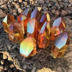 Sunset Aura Lemurian Quartz Generators Crystal Magic, Quartz Cluster, Rocks And Gems, Meditation, Generators, Sunset, Crystals, Yoga, Crystal