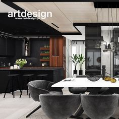 Salon z kuchnią w apartamencie Room Ideas Bedroom, Small Room Bedroom, Black Kitchens, Drawing Room, Modern Luxury, Kitchen Furniture, Kitchen Design, New Homes, Asia
