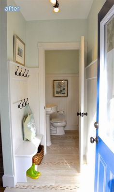 Side home entry walking into mudroom/bathroom along the front of the house with living room on the other side of the wall Mudroom Laundry Room, Laundry In Bathroom, Laundry Powder, Small Laundry, Home Design, Design Design, Home Renovation, Home Remodeling, Farmhouse Stairs