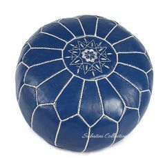 Moroccan Leather Blue White Stitch Pouf by LeatherPoufs on Etsy, $95.00