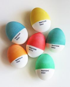 Pantone Eggs by Jessica Jone (How About Orange)The Pantone motif is a  simple designer icon that lends itself to parody, play and product design.  Jessica Jones has made Pantone eggs by dipping them in dye and creating the  type by printing onto inkjet temporary tatoo paper.  I'd like to thank Jessica for sharing one of her other DIY project photos  in the current issue. I compiled art and craft inspired by the elements  (sun, wind, temperature) and featured her project of using Inkodye to…