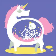 Unicorn with skeleton king in its belly.