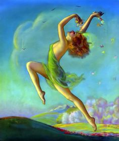Vintage Irene Patten 1935 Art Deco Springtime Maiden Pin-Up Print Risqué Nymph Digital Print, Digital Art Girl, Digital Image, Spring Art, Spring Time, Art Deco, Pin Up Art, Pin Up Girls, Irene