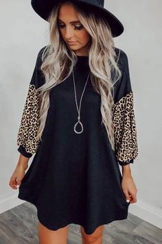 Women Black Round Neck Leopard Casual Dress - XL Source by modagalfashion Dresses for church Elegant Dresses, Casual Dresses, Dresses Short, Leopard Dress, Types Of Collars, The Dress, Sleeve Styles, Dresses Online, Bodycon Dress