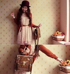 Maroon Bowler, Lowrys Farm Chiffon Floral Dress, Jeanasis Vintage 2 Way Bag