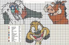 Timon & Pumbaa Disney Cross Stitch Patterns, Cross Stitch For Kids, Cross Stitch Books, Cross Stitch Cards, Cross Stitch Baby, Cross Stitching, Cross Stitch Embroidery, Disney Stitch, Lilo E Stitch