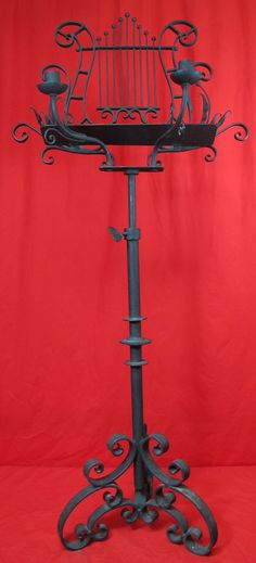 Ornate Wrought Iron Music Stand Candle Holder Victorian Double As Easel Yqz