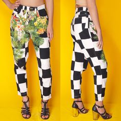 VTG 90s VERSACE Jeans Couture CHECKERBOARD Floral JEANS #Versace