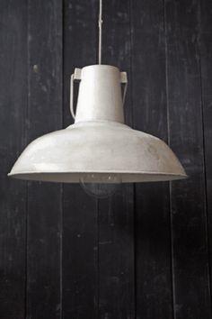Large Vintage Ceiling Lamp Shades - White Distressed Metal