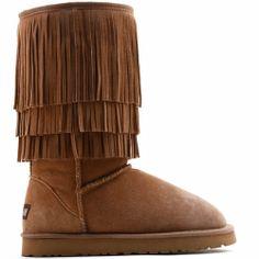 Womens Chestnut Leather Fur Tassel Goth Boho Winter Warm Snow Boots SKU-143452