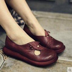 Artmu 2016 Women Shoes Vintage Pigskin Genuine Leather Shoes Female Cutout Flat Platform Women's Shoes Casual Shoes