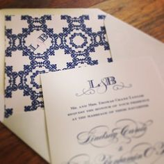 Custom navy and white #monogrammed #wedding #invitation and lined envelope | Custom by Nico and Lala